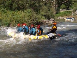 Comienzo del descenso en Rafting