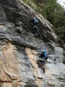 El Risco - Comenzando a subir la pared vertical